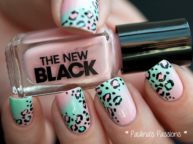nail art leopardata pastello